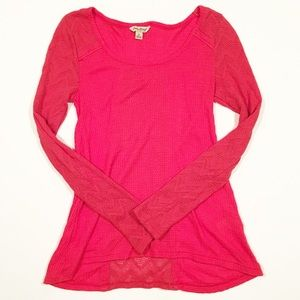 Lucky Brand Coral long sleeve sheer top small